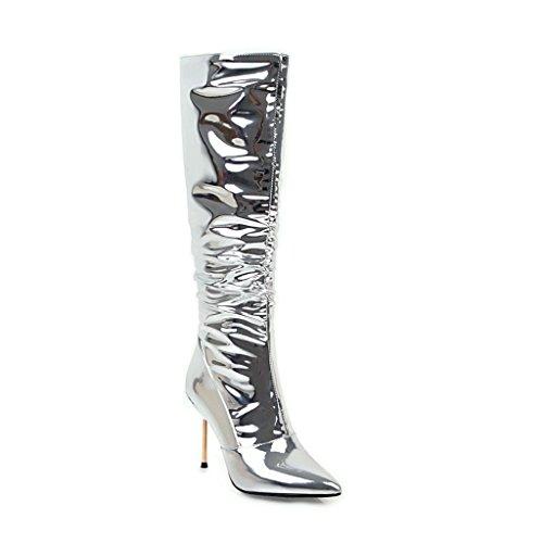 Damen Sexy Knie hoch Lange Stiefel Stiletto High Heel Spitze Künstliche PU Silber Herbst Winter Abend Nachtclub , Silver , EUR 35/ UK 3 (Knie Patent-plattform Stiefel High)
