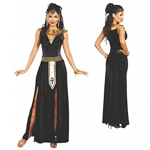 Kostüm Cleopatra Alexia Gr. XS-L Kleid lang Kragen Gürtel Ägypterin Antike (Large)