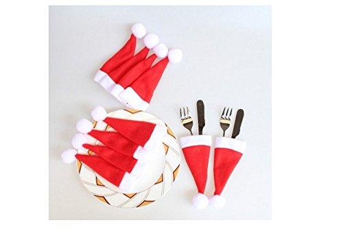 Homgomco 10 pezzi nuovo cappello natalizio, cappello natalizio, coltello e forchetta