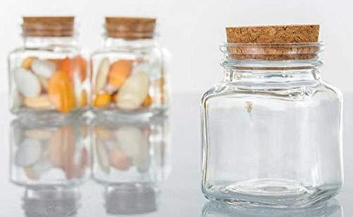Palucart 48 barattoli vetro bomboniere battesimo bomboniera matrimonio forma quadrata 4 x 4 cm con tappo in sughero