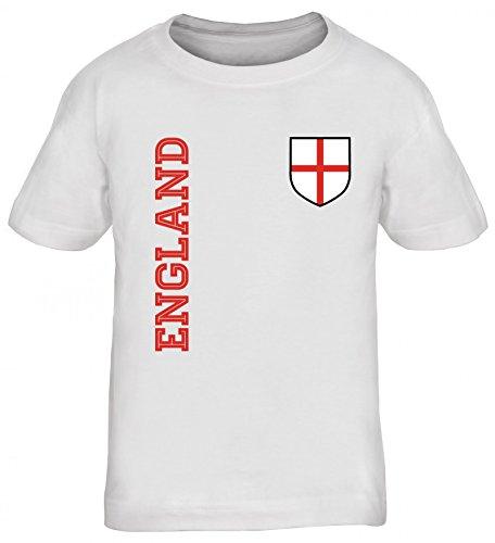 Wappen Fußball WM Fanshirt Gruppen Kinder T-Shirt Rundhals Mädchen Jungen Fan Trikot England, Größe: 134/146,Weiß