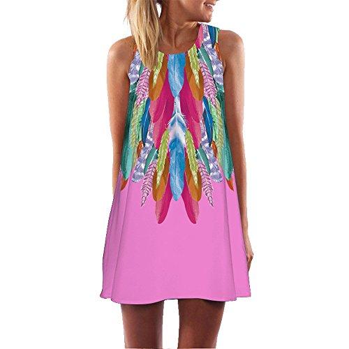 Ärmellos 3D Blumendrucken Sommerkleid Beachwear Strandmode Kleider Kurz Rundhals Minikleid im Ethno-Style Tunika A Linien Hemdkleid Blusekleid Karneval Rockabilly Knielang ()