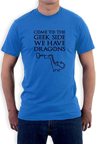 Komm auf die Aussenseiterseite wir haben Drachen, come to the geek side we have dragons T-Shirt Hellblau