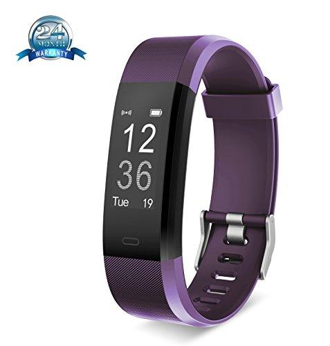 Fitness-Tracker von Yuanguo, Smart-Band, Fitness-Armband, Herzfrequenz-Monitor, Schritt-, Kalorien- Entfernungszähler, Schlafmonitor, lila