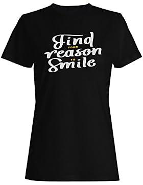 Nuevo Fondo Sonrisa Motivo Divertido camiseta de las mujeres i131f