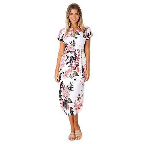 LitBud Damen Kleider Sommer Casual Vintage Business Work Party Urlaub Gürtel Schal Midi Tunika Kleid für Damen Blumen Weiß Größe 38 40 XL -