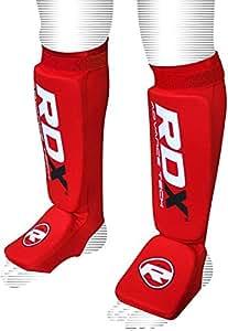 RDX Schienbeinschoner Fußfortsatz für Kampfsport, Satra Zertifiziert Schienbeinschutz, Rot, S