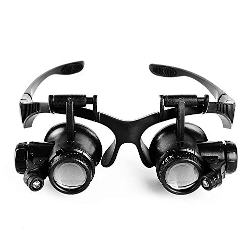 Liegestuhl Glasses-Type Magnifying Glas Fernglas mit Light Repair Clock 10 Times 15 Times 20 Times...