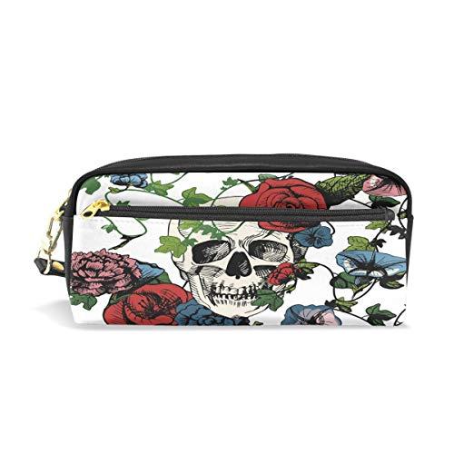 Lustige PU Leder Reißverschluss Bleistifttasche Blume Rose Sugar Skull Stifteetui Kosmetiktasche für Kinder Jungen Mädchen Kinder Schule Frauen