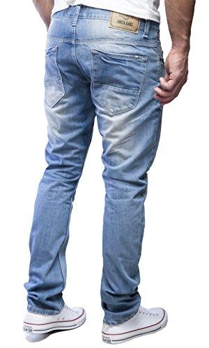 AMICA by MERISH Jeans Homme décoratives coutures Jeans/Pantalons, Jeans StraightFit coup d'oeil détruit diverses couleurs Bleu clair