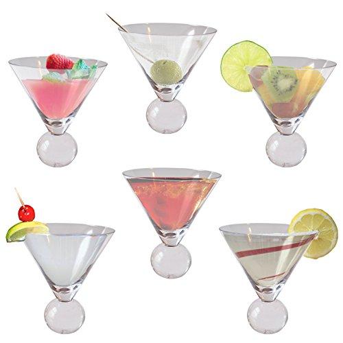 6er-Pack Martinigläser Cocktailgläser für Getränke von Kurtzy - Cocktail Gläser Set Ohne Stiel - Kugelfuß - Leicht zu Reinigen und Spülmaschinenfest - Fasst 240ml - 13cm Höhe - Kristallglas
