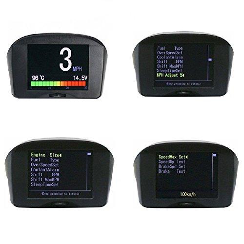 Preisvergleich Produktbild AUTOOL X50 PLUS OBDII OBD2 Digital KMH / MPH Auto-HUD-Geschwindigkeitsmesser u. Überdrehzahl-Alarm Auto-Spannungs-Meter-Wasser-Temperatur-Messgerät mit LCD-Anzeige für 12V das meiste Benzin u. Diesel