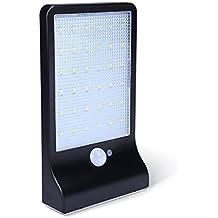 KINGTOP Lámparas Solares 36 LEDs Focos Luz Paredes LED lluminacion Exteriores Solar Impermeable Energía con Sensor de Movimiento, Luz Solares de Seguridad – Negro