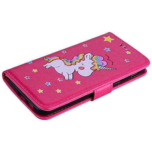 Custodia iPhone 7,TXLING Cover iPhone 7/iPhone 8 4.7 Flip Case,Elegante borsa Custodia in Pelle Protettiva Portafoglio Case Cover per Apple iPhone 7 4.7 / con Supporto di Stand / Carte Slot / Chiusura Rosa rossa