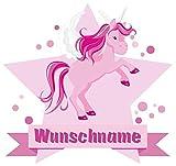 Samunshi® Großes rosa Einhorn Aufkleber mit Namen Autoaufkleber Namensaufkleber Kinder in 7 Größen (25x22cm Mehrfarbig)