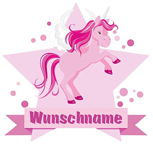 Samunshi® Großes rosa Einhorn Aufkleber mit Namen Autoaufkleber Namensaufkleber Kinder in 7 Größen (10x8,8cm Mehrfarbig)