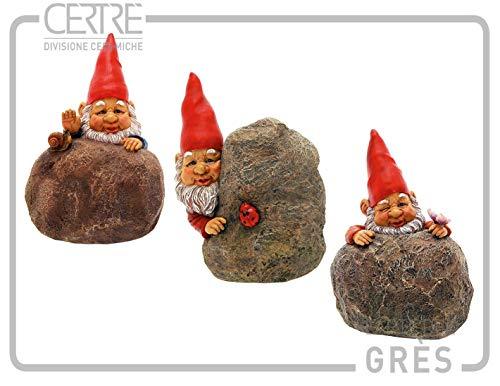 CERTRE Wichtel auf Fels mit Schnecke cm.13x 10x 18H.