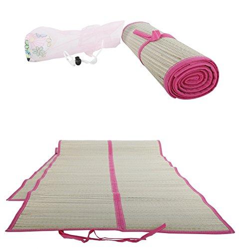 Faltbare Strandmatte, Strohmatte, Beach Mat, Badematte ca.60x180cm (pink)