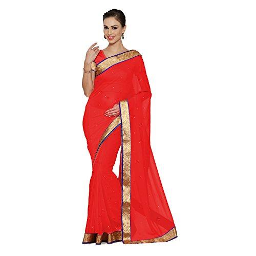 Viva N Diva Saree For Women's Red Color Chiffon saree