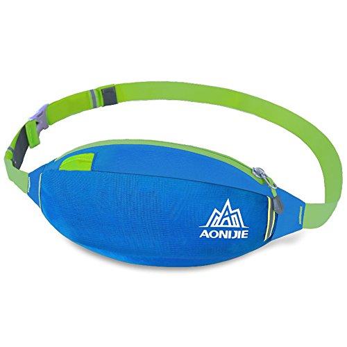 aonijie Outdoor regolabile traspirante Vita Borsa per sport, ciclismo, trekking, bicicletta, Hot Pink Blue