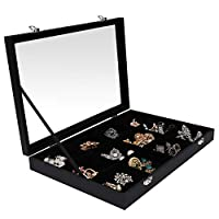 Jewellery Organiser - Jewellery Box with 12 Compartments (L 35.2 x W 24.1 x H 4.7 cm) Ring Display Case with Velvet Lining, Transparent Lid Closure for Pendant, Earrings, Bracelets, Nose Studs