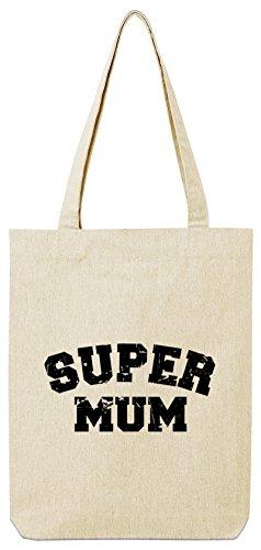 Große Jute-tote (ShirtStreet Geburtstags,- Muttertagsgeschenk Bio Baumwoll Tote Bag Jutebeutel Super Mum, Größe: onesize,Natural)