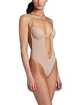 Burvogue Mujer Sin Espalda Tanga para mujer de Incisión Deep V una pieza Bodysuit