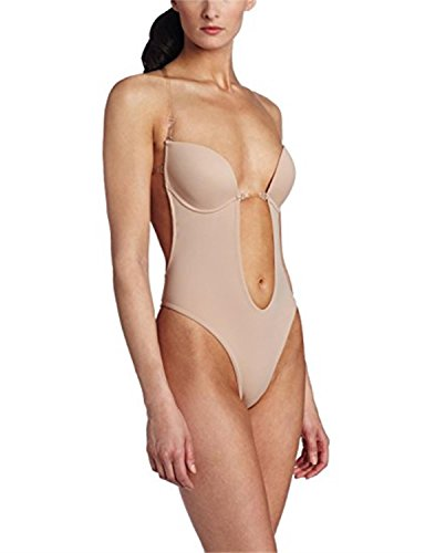 aded840b27 Burvogue Women s Backless Deep V Plunge Thong Shapewear One Piece Bodysuit  (X-Large
