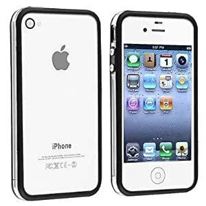 Black Clear Bumper Frame with Metal Buttons for Apple iPHONE 4S and 4 including Back + Front Screen Protector