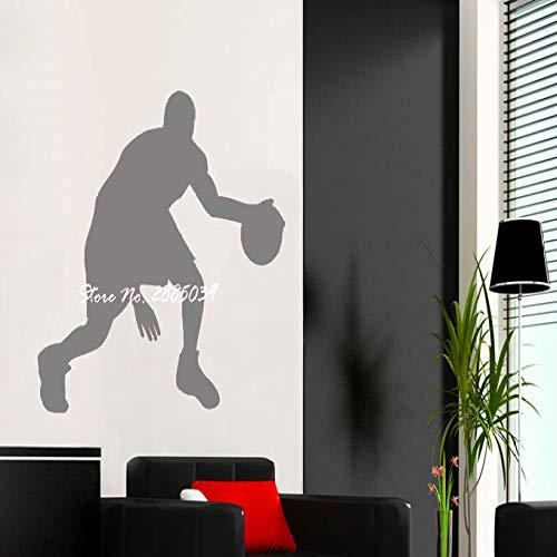 jiushizq Giocatore di Basket Adesivo murale Vinile Fai da Te Adesivo Decorazioni per la casa Decalcomanie Sport Sticker per Camera dei Bambini Poster L 3 61x56cm
