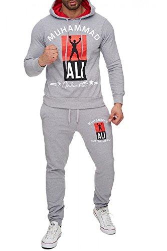 Herren Trainingsanzug Zweiteiler Jogginganzug Muhammad Ali H1718, Farben:Hellgrau, Größe Pullover:XL