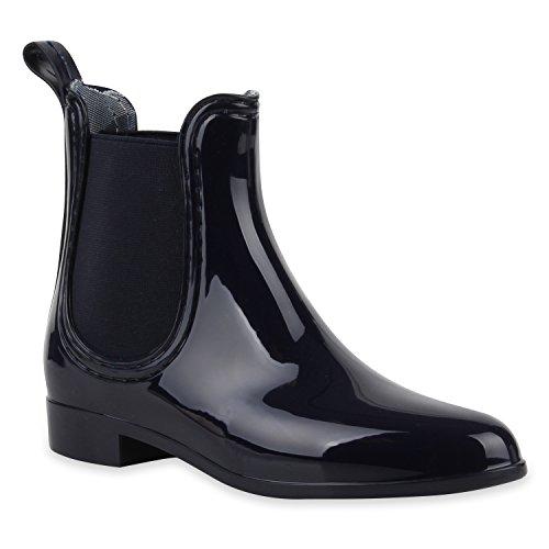Bequeme Stiefeletten Damen Chelsea Boots Gummistiefel Lack Schuhe 127511 Navyblau 38 Flandell