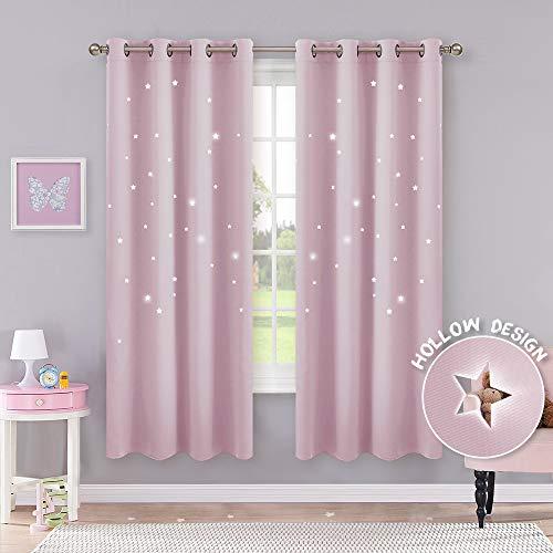 Pony dance tende sole bambini neonati ragazze finestre soggiorno termiche antimoche con stelle vuote rosa chiaro/drappeggi per interni salotto moderni cameretta, 116 x 182 cm (l x a), 2 panelli