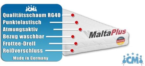 Schaumstoffmatratze MALTA PLUS. Kaltschaum 90 x 200 cm. Matratze mit RG40 Qualitätsschaum. Punktelastisch, atmungsaktiv mit waschbarem Frotteebezug. Schaumstoff Matratze auch geeignet als Babymatratze, Kindermatratze und Jugendmatratze 90x200 cm Made in Germany.