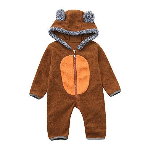 Lazzboy Kleinkind Baby Mädchen Jungen Cartoon Ohren Hoodie Strampler Zip Kleidung Overall(Höhe ()