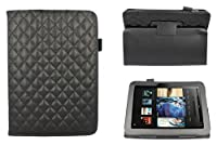 CaseGuru Cargo Biker Black Leather Style Entertainment Stand Up Case Cover Protection Holder With Magnetic Snap Closure & Viewing Stand Feature For Kindle Fire HD 7�?? Tablet (Not Suitable for 2015 Version)