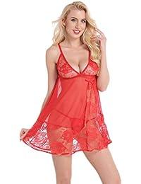 Aibrou Lencería Mujer, Semi-Transparente Picadias Ropa Interior, Erotica Pijamas Encantadora con Tanga