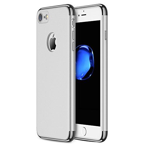 iPhone 7 Hülle, RANVOO 3-Teilige Extra Dünn Hart Slim Thin Hard Case Cover Stylich Hochwertig Schutzhülle Schale Handy Hülle für Apple iPhone 7, Silber [3 in 1 Apple Logo sichtbar]