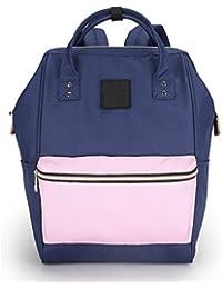 SIFINI Waterproof Oxford Backpack Casual Rucksack Handbag Schoolbag For Men And Women (navy Blue&pink)