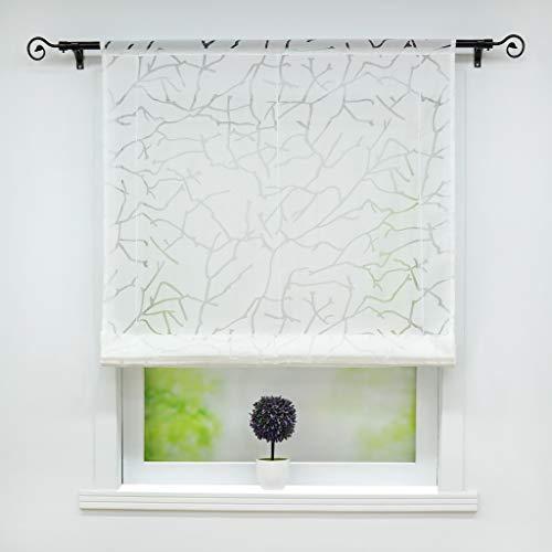 ollo Ausbrenner Raffgardinen mit Tunnelzug »Äste« Schals Fenster Gardine BxH 80x155cm Weiß 1er Pack ()