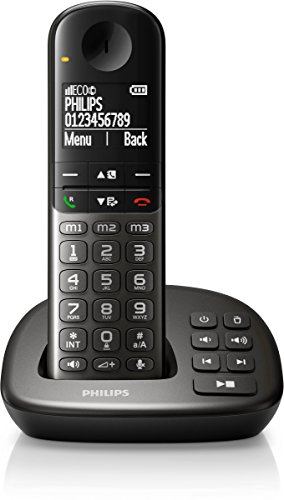 Philips XL4951DS/38 schnurloses Telefon (leicht bedienbar, große Tasten, hörgerätekompatibel) schwarz