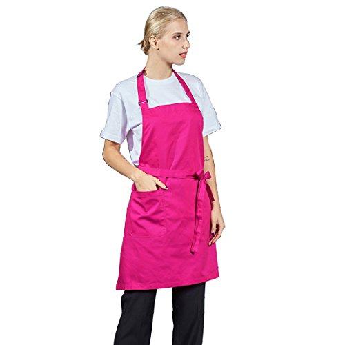 LissomPlume Baumwolle kochschürze Küchenschürze verstellbare Schürze mit Taschen Backschürze - rosarot - Baumwolle-verstellbare Schürze