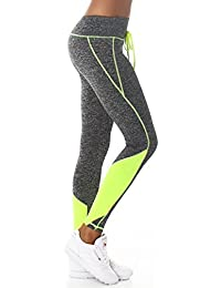 24brands Damen Sport Fitness Leggings Sporthose Fitnesshose Freizeithose Leginggs - 3158, Größe:L/XL;Farbe:Grau/Neongelb