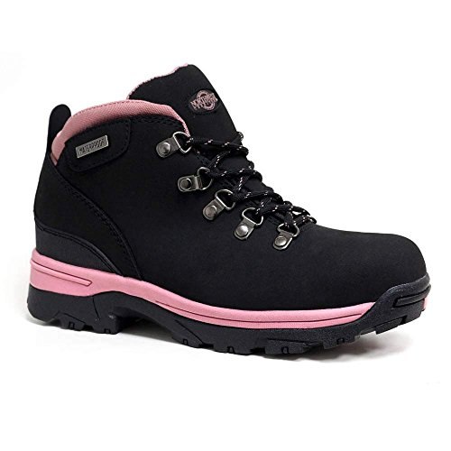 LADIES TREK LEATHER LIGHTWEIGHT WATERPROOF, WALKING/HIKING/TREKKING BOOT. (6 UK, Black / Pink)