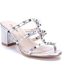 Schuhtempel24 Damen Schuhe Pantoletten Sandalen Sandaletten Blockabsatz  Nieten 7 cm 8602fac055