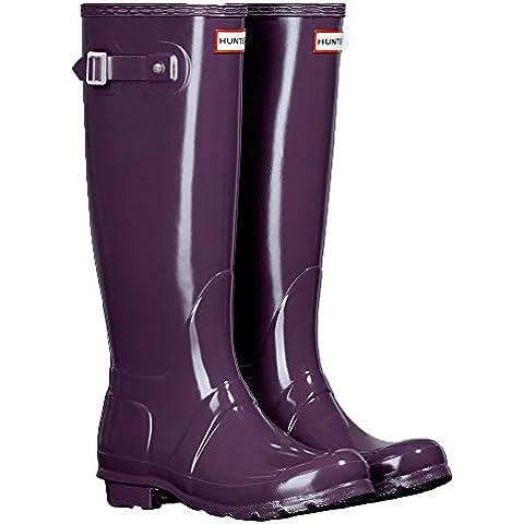 Hunter Orignal Tall Púrpura Gloss Mujeres Wellington Botas