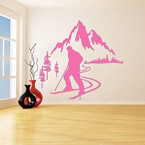 guijiumai Adesivi murali in Vinile Sci Alpino Sciatore Sport Decalcomania Rimovibile Camera da Letto Soggiorno Decorazioni per la casa Poster d'Arte Z 5 57x61cm