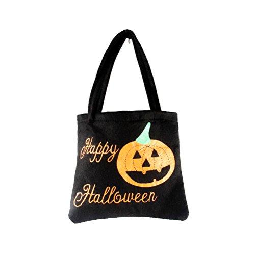 OULII Halloween schwarze Kürbis Süßes sonst gibt's Saures Süßigkeits Geschenk Beutel für Halloween Partei Bevorzugungen (Halloweeen Dekorationen)