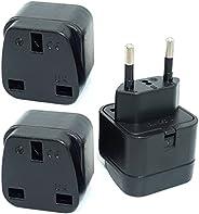 KSA/UAE/UK to EU/Germany/France (Type C Round pin) Plug Adaptor, 3-pin KSA/UAE/UK Plug Convert to 2-pin EU/Ger