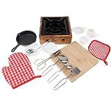 Fenteer 15x Kinder Kochset inkl. Pfanne + Schneidebrett + Herd + 5X Teller Utensilien, aus Metall und Holz